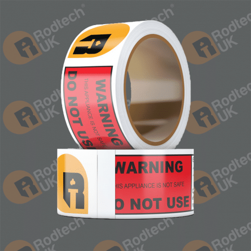 Rodtech Warning Notice Tape – 1 Roll – Approx 360 Notices