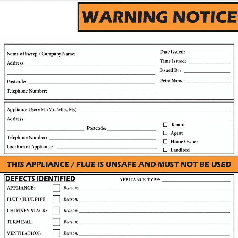 1 Part Warning Notice Full Colour pad of 100